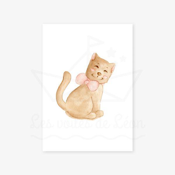 affiche chaton nœud rose