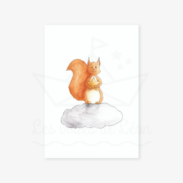 affiche murale écureuil étoiles nuage