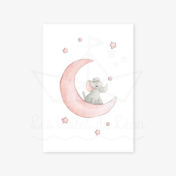 affiche éléphant lune rose