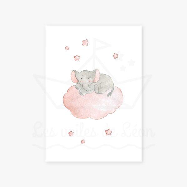 affiche éléphant nuage rose