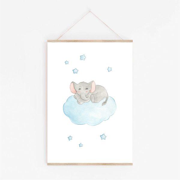 affiche éléphant dans les étoiles