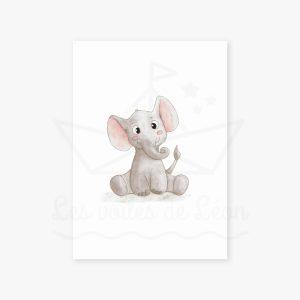 Éléphant – Aquarelle individuelle