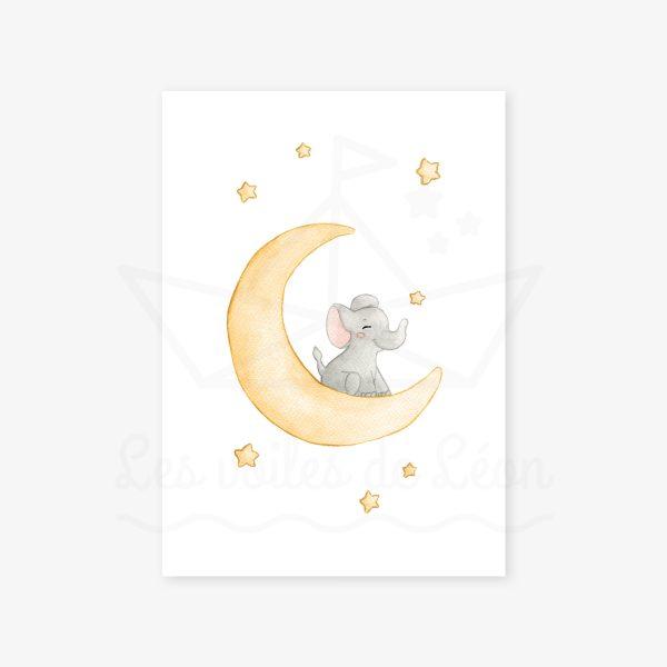affiche éléphant lune jaune