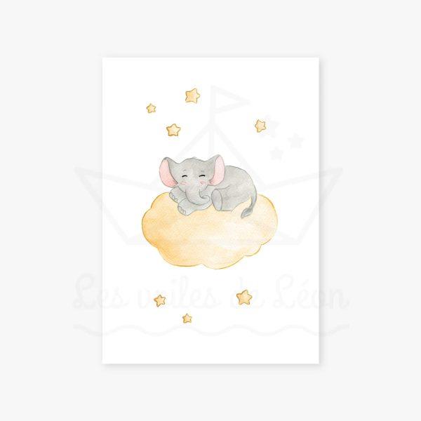 affiche éléphant nuage jaune