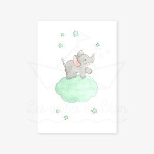 Éléphant dans les étoiles – Aquarelle individuelle