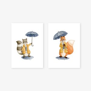Sous la pluie – renard et raton-laveur – Aquarelles