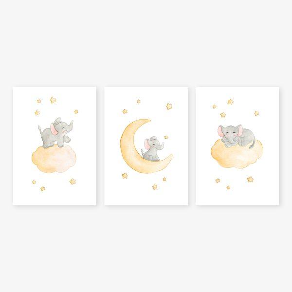 affiches elephants etoiles jaune