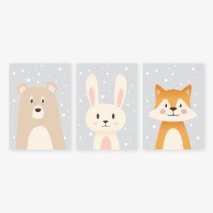Sous la neige : ours, lapin, renard