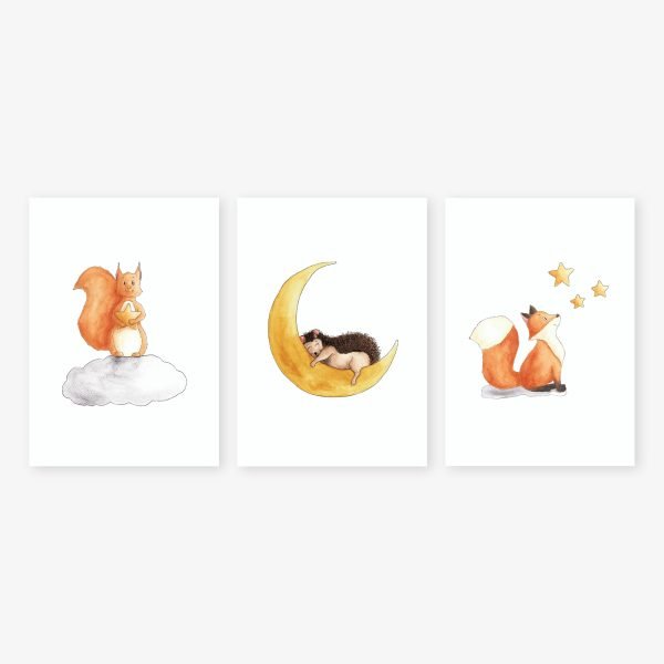Trio illustration étoiles, écureuil, hérisson, renard