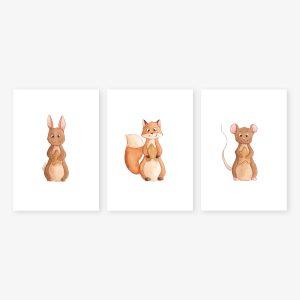 Etoiles – lapin, renard et souris – Trio Aquarelles