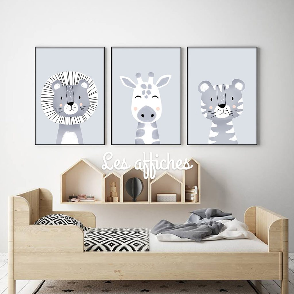 affiches safari, lion, girafe, tigre