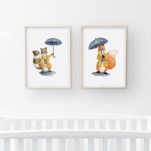 Sous la pluie – renard et raton-laveur – Duo Aquarelles