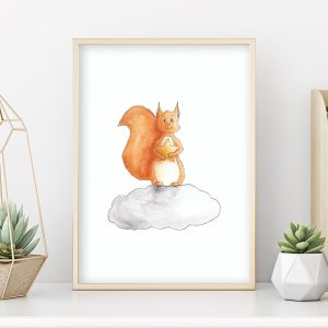 Écureuil sur un nuage – Aquarelle individuelle