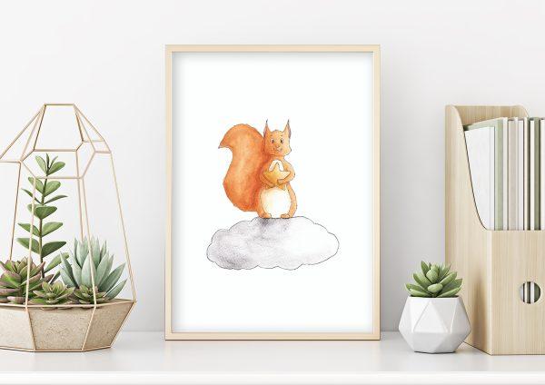 illustration écureuil nuage