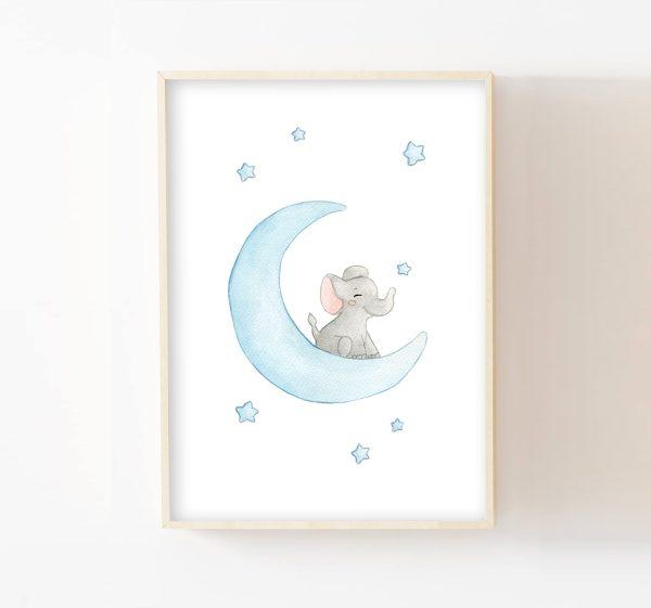 affiche éléphant sur la lune