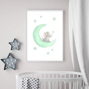 Éléphant sur la lune – Aquarelle individuelle