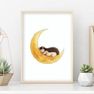 Hérisson sur la lune – Aquarelle individuelle