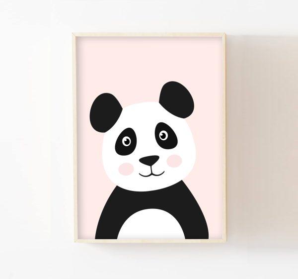 affiche panda rose