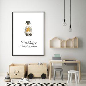 Pingouin et son étoile – Aquarelle individuelle