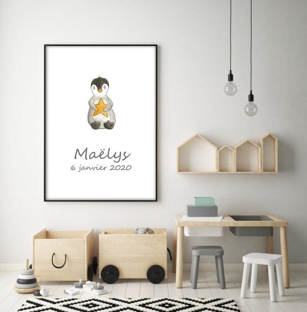 affiche pingouin étoile
