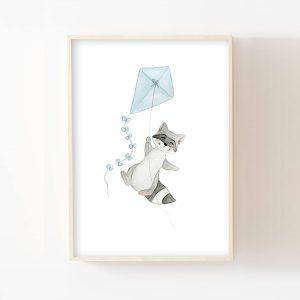 Raton-laveur et son cerf-volant