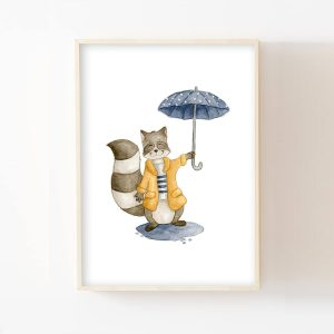 Raton-laveur sous la pluie – Aquarelle individuelle