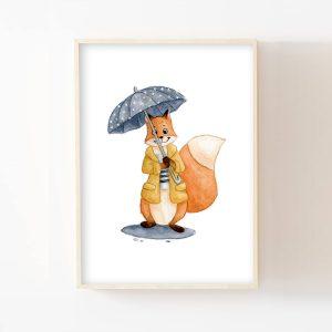 Renard sous la pluie – Aquarelle individuelle