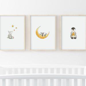 Etoiles – Hippopotame, panda, pingouin – Trio Illustrations