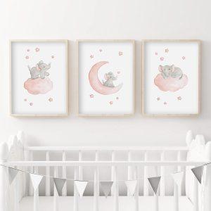 Etoiles – éléphants – Trio Aquarelles