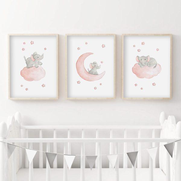 Trio illustrations éléphant dans les étoiles