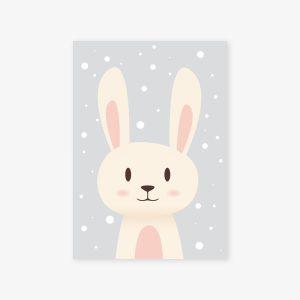 Augustin, le petit lapin sous la neige