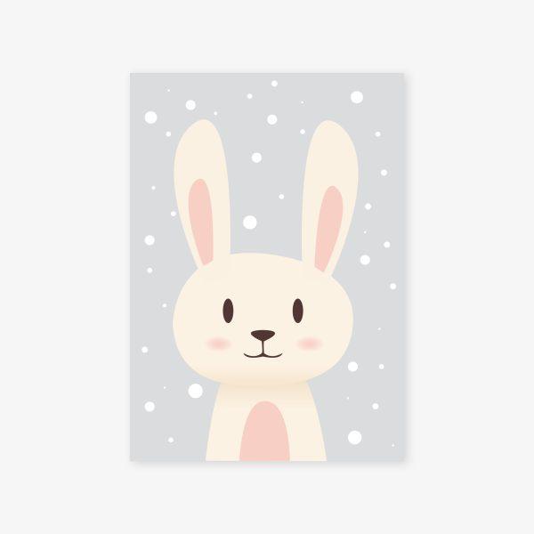 affiche lapin fond neige