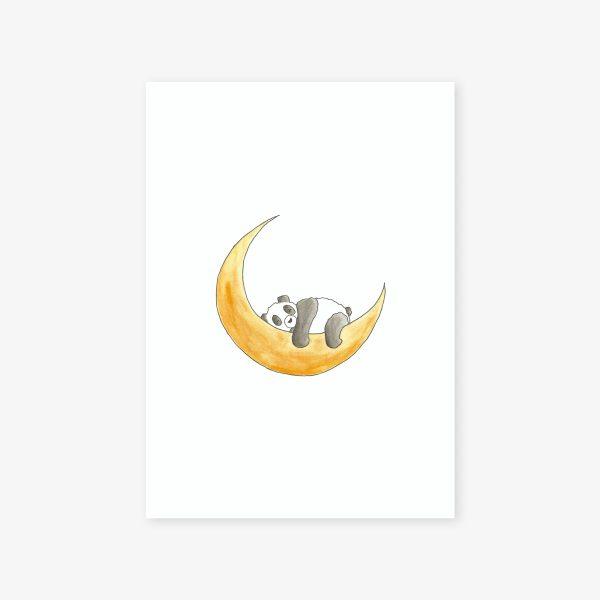 illustration panda sur la lune