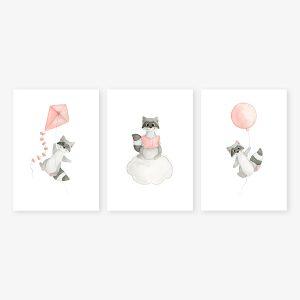 Ciel – raton-laveurs – Trio Aquarelles