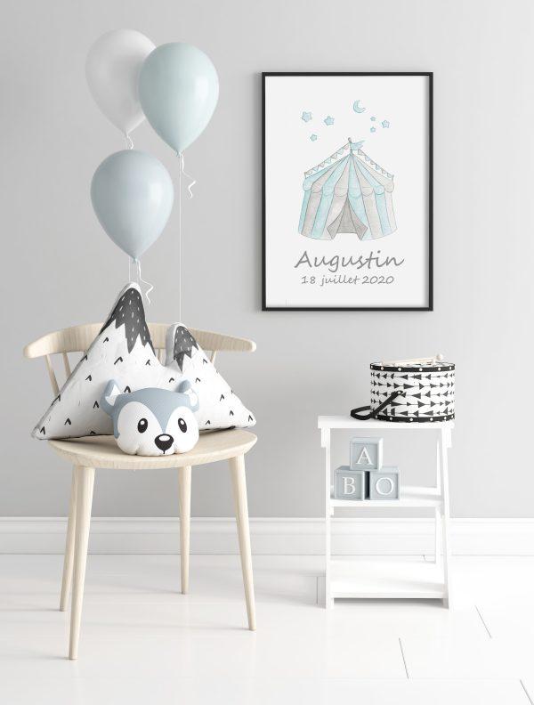 affiche chapiteau prénom date naissance