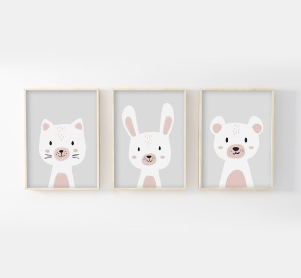 cadres chat ours lapin gris rose