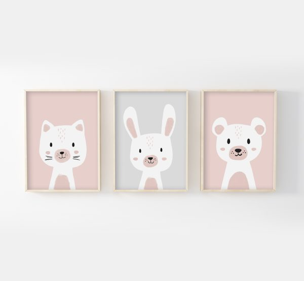 cadres chat ours lapin rose