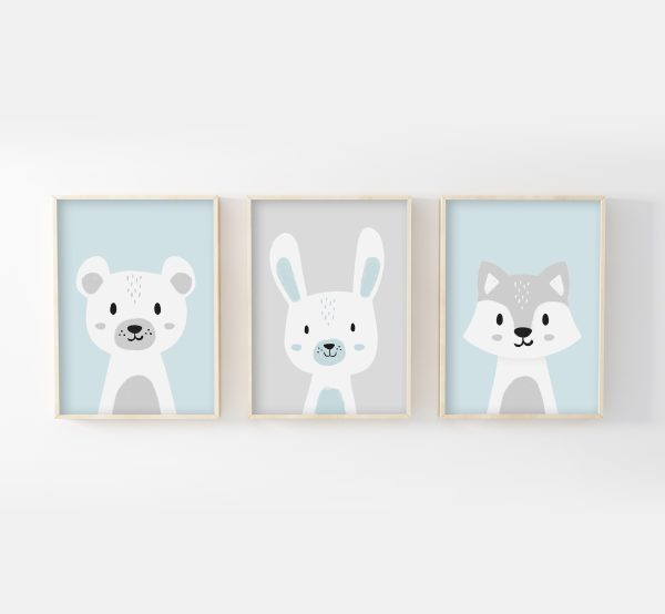 cadres ours lapin loup gris bleu
