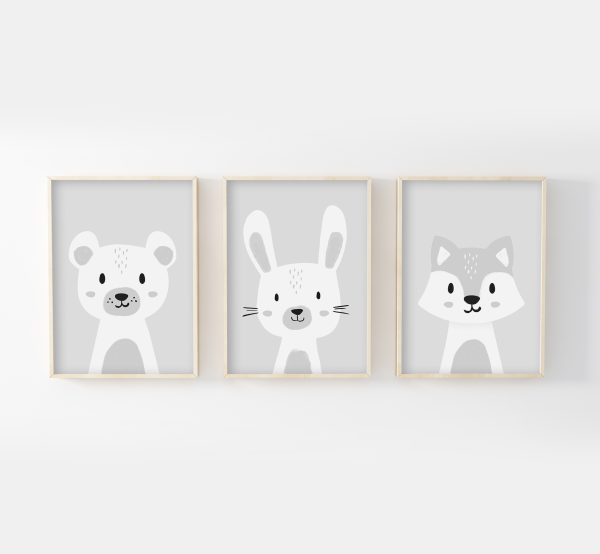 cadres-triptyque-affiches-ours-lapin-loup-gris