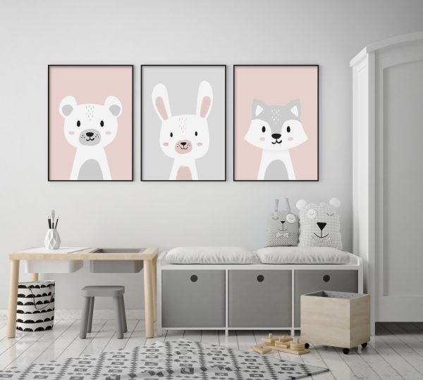 cadres ours lapin loup gris rose