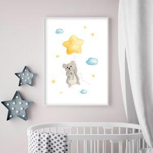 Koala et son étoile – Aquarelle individuelle