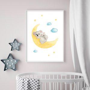 Koala sur sa lune – Aquarelle individuelle