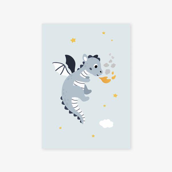 affiche dragon bleu jaune cracheur feu