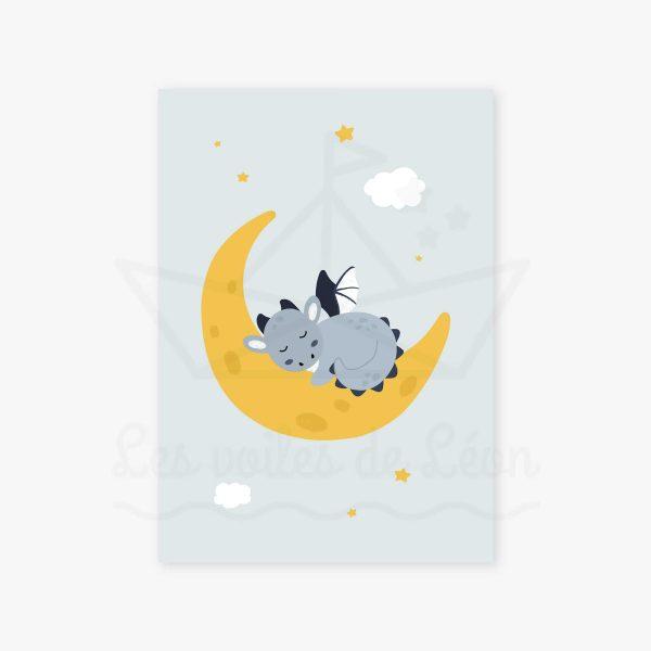 affiche dragon bleu jaune lune