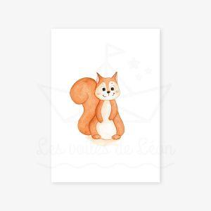 Écureuil – Aquarelle individuelle