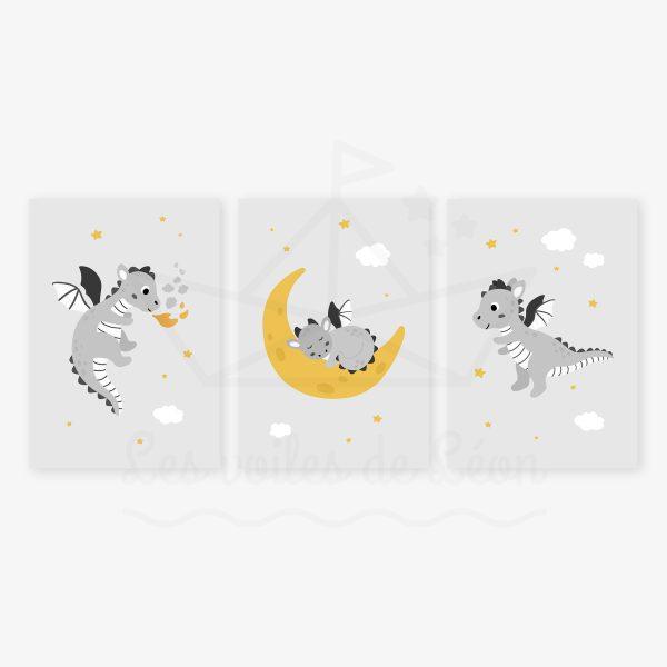 affiches trio dragons gris jaune