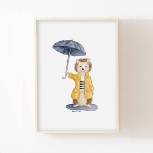 Hérisson sous la pluie – Aquarelle individuelle