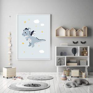 Dragon en vole – Affiche individuelle murale