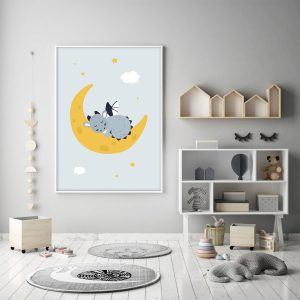 Dragon sur sa lune – Poster individuel