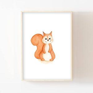 Bébé écureuil – Aquarelle individuelle